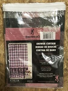 "Browning Buckmark Plaid Fabric Shower Curtain 72"" x 72"" Pink Gray"