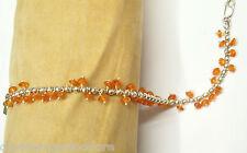 Bracciale in Argento 925 con Agata arancione naturale - Braccialetto Pietre Dure