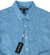 Men's MICHAEL KORS Aqua Blue Linen Shirt M Medium NWT NEW Classic Fit $98+ Wow!