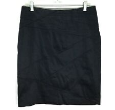Adrienne Vittadini NEW Womens 8 Pencil Skirt Navy Blue Cotton Stretch Career