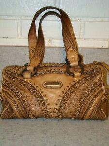 Isabella Fiore women handbag purse tan & brown lined GUC