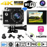 2'' HD 4K 16MP Waterproof Sports WiFi Action Camera Car Cam DV Video Recorder UK