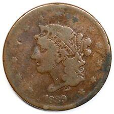 1839 N-12 R-5 Booby Head Matron or Coronet Head Large Cent Coin 1c