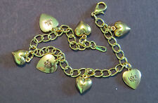 Valentine Hearts Be Mine Bracelet 7 Inch 24 Karat Gold Plate 1 Love You Hug Me