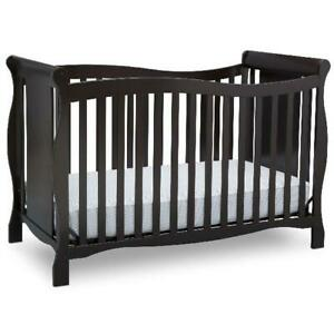 4-In-1 Crib And Toddler Bed Baby Nursery Infant Bedroom 3-Position Espresso Wood