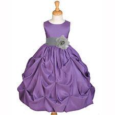 PURPLE PAGEANT TAFFETA TODDLER JUNIOR WEDDING FLOWER GIRL DRESS 2 3T 4 6 7 8 10