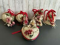 5 Vtg Stiffened Crochet Balls Bells Heart Christmas Tree Ornament Handmade