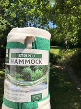 Nouveau Al Fresco à rayures vert jardin Hamac 1x2m tissu de coton trad Country H...