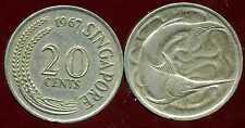 SINGAPORE - SINGAPOURE  20 cents  1967    ( etat )