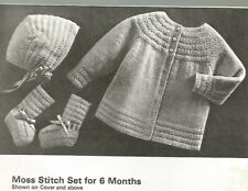 Knitting Crochet Patterns Baby Sweater Booties Mitts Bonnets Cap Vtg Patons C36