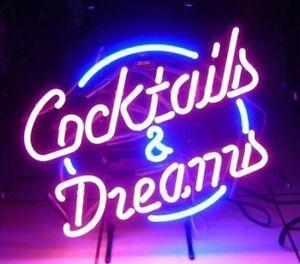 "17""x14""COCKTAILS & DREAMS Neon Sign Light Handmade Visual Artwork Customized Art"