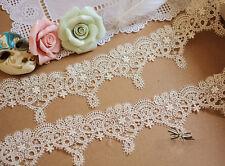 """Nupcial bordado encaje puntilla cinta 2.1"""" Ancho Marfil Floral Boda recorte"""