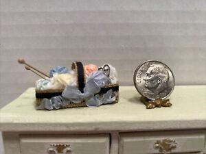Vintage Artisan Filled Knitting Basket in Progress Dollhouse Miniature 1:12