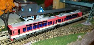 N GAUGE SCALE KATO 10-1471 EIDEN ELECTRIC RAILWAY 2 CAR TRAM IN RED IN MINT COND
