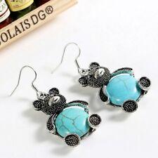 Turquoise Teddy Bear Wire Pierced Earrings - New