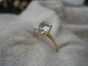 Bague ancienne  aigue marine ovale  en or 18 carats taille 55/56