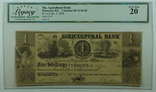 1836 5 Shillings Agricultural Bank Montreal Canada Obsolete Currency Legacy Vf20