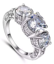 27 Ct.t.w.- 3 ROUND STONES WHITE TOPAZ BRILLIANT FACETED CUT RING ~ SIZE 7