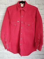 Vintage Carhartt Mens Medium Red Denim Western Pearl Snap LS Shirt Made in USA