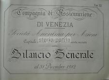 SCRITTURA_CALLIGRAFIA_ASSICURAZIONI_VENEZIA_ECONOMIA_BILANCIO GENERALE_STAMPA