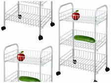 4 Wheel 3 Tier Kitchen Trolley Vegetable Rack Fruit Storage Basket Corner Shelf