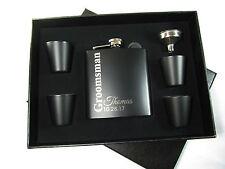 4 Custom Personalized Flask Gift Sets Groomsmen Best Man Engraved Hip Flask Vert