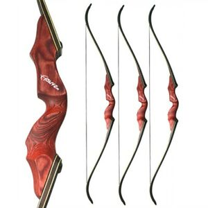 """60"""" Archery 30-60lbs Takedown Recurve Bow America Red Riser Bamboo Core Hunting"""