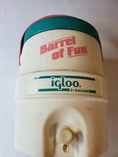 New listing Vintage Barrel of Fun Water Cooler Igloo White Teal Pink Blue 80's 2 Gallon