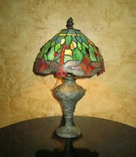 antique leaded stained glass dragonfly blackberry floral Art Nouveau pewter lamp
