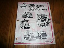 1988 Mack Engine Tune Up Specifications 5-672/998 ID 88