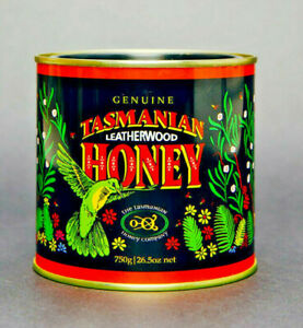 Tasmania's Finest Leatherwood Honey, 750gm tin, Export quality