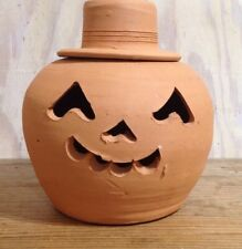 "Vintage Hewell's Pottery Terracotta Jack O Lantern Pumpkin Halloween 11"""