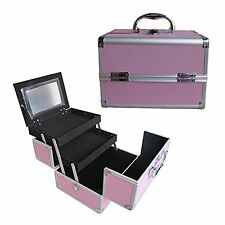 "10"" Pro Aluminum Makeup Train Case Jewelry Box Cosmetic Organizer Pink"
