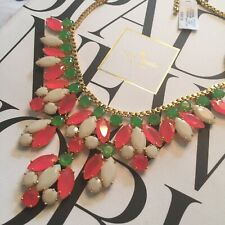 STUNNING KATE SPADE NY MARQUEE BIB STATEMENT NECKLACE PINK GREEN BRIDAL WEDDING
