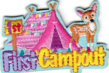 """FIRST CAMPOUT"" PATCH- Iron On Embroidered Applique-Sports,Words,Camping"