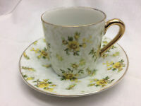 Vintage Inarco Tea Cup and Saucer Yellow Rose Floral Pattern