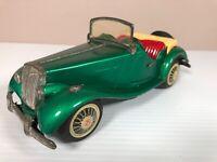 Vintage Tin Litho Convertible Green MG Toy Car Bandai Made In Japan - See pics