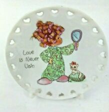Vtg 1993 Precious Moments Enesco Ceramic Mini Plate w/Stand Love Is Never Vain