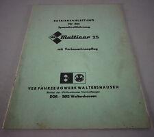 Instrucciones Servicio / Manual Ifa Multicar M 25 con Vorbauschneepflug