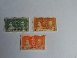 GEORGE VI 1937 CORONATION  TRINIDAD AND TOBAGO  UN MOUNTED MINT