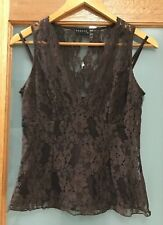 SEDUCE Brown Lace Sleeveless Top Size 10