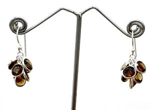 "Handmade 925 Sterling Silver Smoky Quartz Gemstone Jewelry Earrings Size-1"""