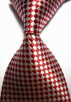 New Classic Plaids Red White JACQUARD WOVEN 100% Silk Men's Tie Necktie