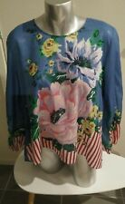 sass and bide size 10 floral and stripe print cotton top