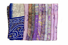 15 PCS Lot Vintage Silk Sari Recycle Scarf Wraps 10x70 Patchwork Stole Assorted