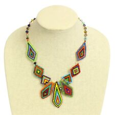 NE178 Crystal Art Palisade Multicolored Beads Woven Artisan Necklace Magnetic Cl