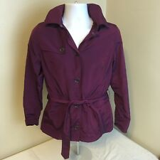 Lands End Womans Light Weight Jacket Coat Parka Purple Full Zip Small 6-8 w Hood