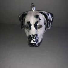Slavic Treasures Collectible Ornament Large Dalmatian Dog Head Blown Glass