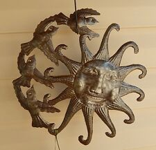"Sun & Birds Haitian Metal Art Outdoor Indoor Custom Artist Signed 13"" NWT Haiti"