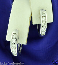 0.74 ct 14k Solid White Gold Natural  Diamond Earring Huggie Hoop channel set